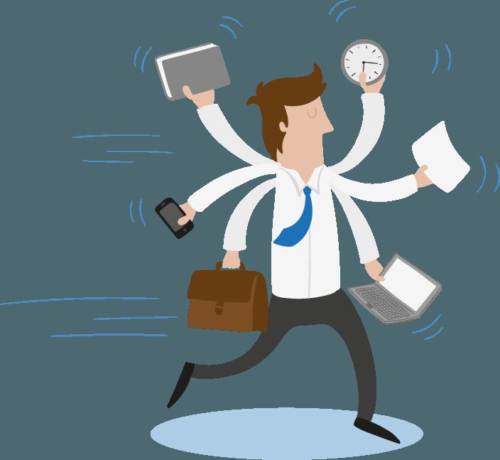 empresário multi tarefa - Administrar Online - Terceirização do Financeiro - BPO Financeiro